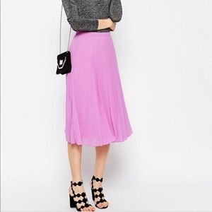 ASOS Pleated Midi Skirt Bright Lavender/Pink Flowy